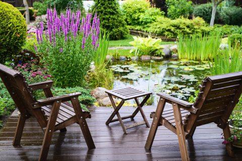 terrasse au bord du bassin